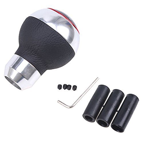 Bingohobby Car Gear Knob Universal Shift Knob Gear Shifter Stick Cover 5 Speed Alluminium Alloy Leather Black