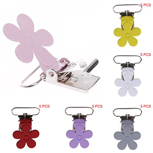 UJuly Pacifier Clips for Girls Plum Flower Metal Baby Suspender Pacifier Holder (Pink)