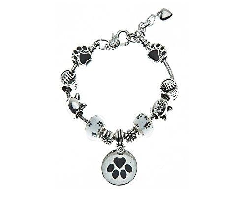 Infinity Collection Cat Charm Beaded Bracelet, Cat Jewelry, Paw Print Jewelry- Cat Lovers Bracelet-Cat Owner Bracelet for Cat Lovers