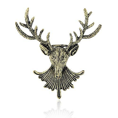 Vintage Bronze Elk Deer Reindeer Head Brooch Neck Clip Collar Brooches Pin Christmas Xmas Gift Jewelry for Wemen Men