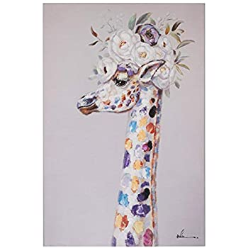 Floral Giraffe Wall Art Modern Printing On Canvas Painting with Hand Embellished Home Decor 24