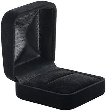 Spaufu Caja para anillos de compromiso, color negro, para boda ...