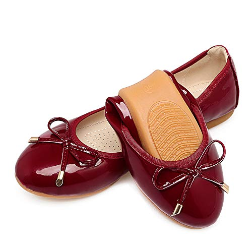 shoes shoes patent comfortable single Red ballet bow wine shoes Soft shoes flat women leather and pregnant foldable FLYRCX shallow W1gpna6