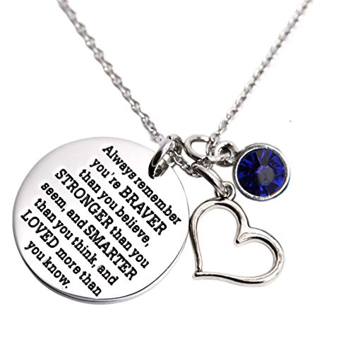 KUIYAI Always Remember You are Braver Than You Believe Necklace with Birthstone Charm Jewelry Inspirational Gift (Sep-RayalBlue)