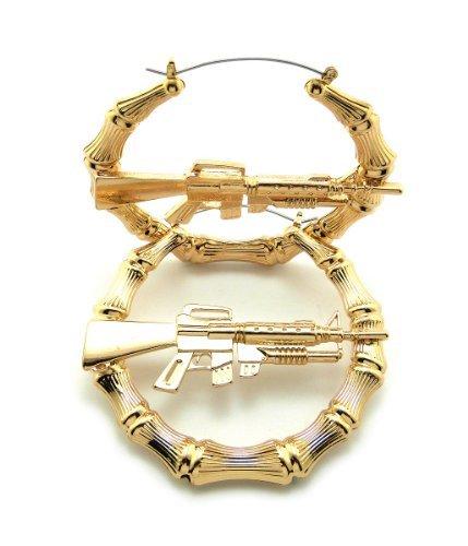 Gold, Silver Tone Machine Gun Piece Bamboo Style 3.0