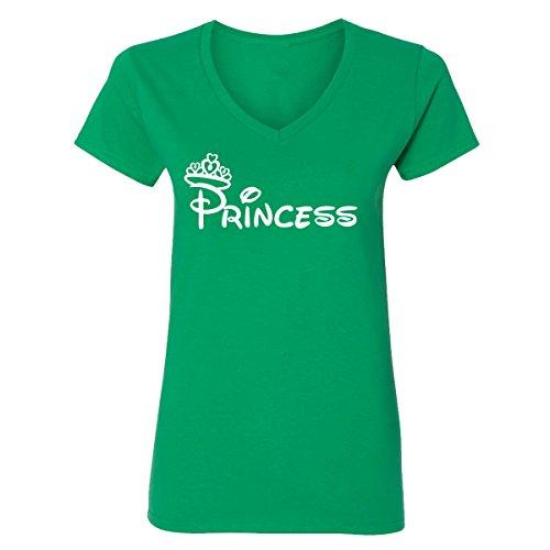 Irish V-neck Womens T-shirt - Adult Disney Princess Design V-Neck T-Shirts for Women(Irish Green,Medium)