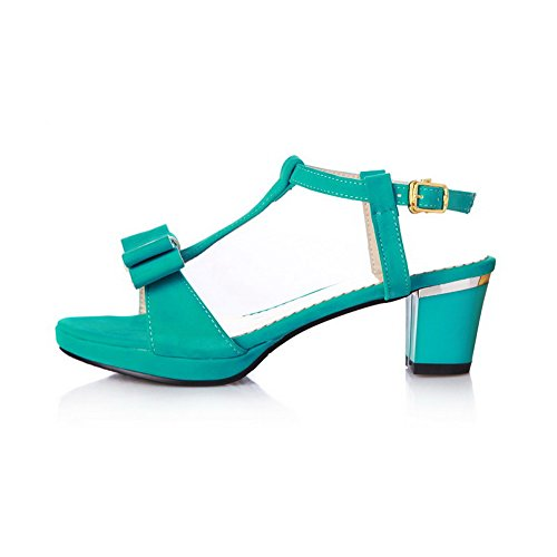 AmoonyFashion Womens Solid Imitated Suede Kitten-Heels Open Toe Buckle Sandals Green 8wA3jVr7I