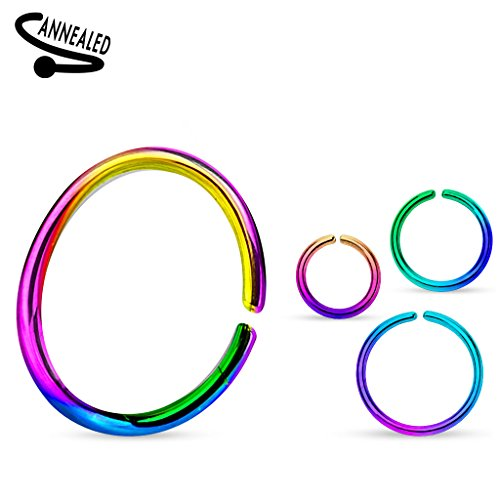 ((3 pieces) 20g (0.8mm) Rainbow Nose Hoop Annealed and Rounded Ends Cut Ring Titanium Anodized Over 316L surgical steel (nose, cartilage, eyebrow, ear, (10mm))