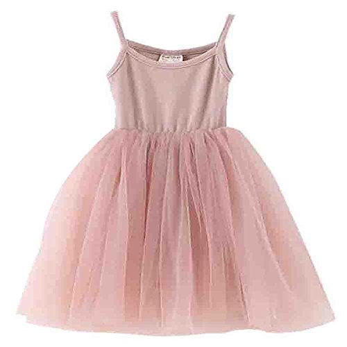 Baby Girls Tutu Dress Sleeveless Infant Toddler Sundress Tulle Bubble 5 Layers Pink