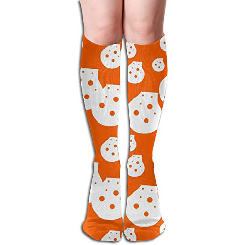 Dots Orange Upholstery Fabric Compression Socks Adult Knee High Sock Gym Outdoor Socks 50cm - Dots Upholstery