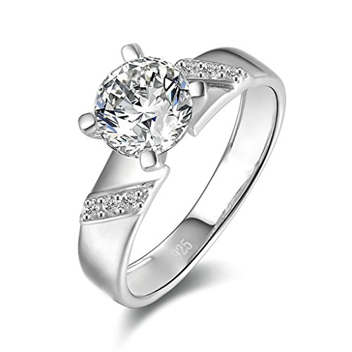 Daesar Silver Plated Rings Womens Engagement Rings Custom Ring 4 Prong Cubic Zirconia Ring Size 5.5