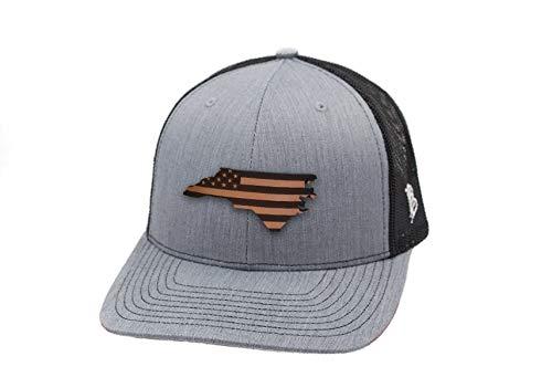 Branded Bills 'North Carolina Patriot' Leather Patch Hat Curved Trucker - OSFA/Heather Grey/Black