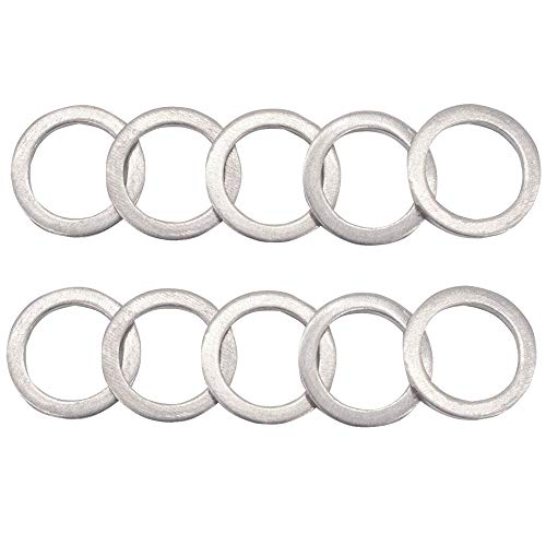 M14 Aluminum Oil Drain Plug Crush Washers Gaskets for Mazda, Replacement for the Part # 9956-41-400, Used for Oil Change, 10 Pack (Crush Washer Replacement)