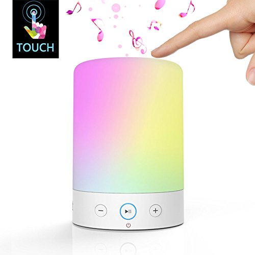 LightStory LED Bedside Lamp Music Lamp, Bluetooth 2.1, Micro SD support, FM radio, Color Changing Touch Table Lamp with Night Light, Small Portable Bluetooth Night Light Speaker Warm White