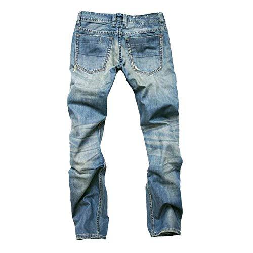Vintage A Uomo Media E Moderna Jeans Blu Rilassati Strappati Stile Denim In Vita Pantaloni Da Casual Dritti Haidean CXwHIaq0