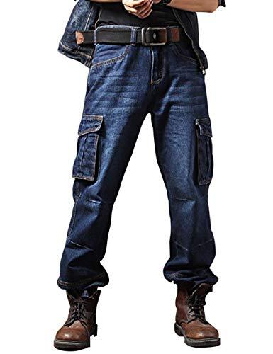 Uomo Biker Denim Casual Blau Vintage Cargo Allentati lannister Qk Ragazzo Lavoro Da Multitasche Moto Pantaloni Jeans FqPIXwx4