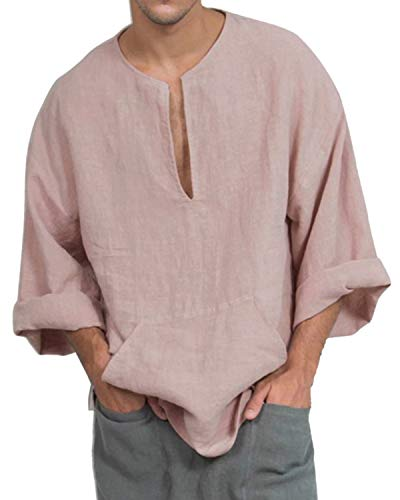 Jacansi Mens Kaftan Linen Cotton Solid Long Sleeve V Neck Loose Pocket Tops Pink XL