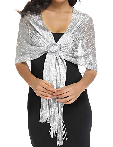 Silver Shawls and Wraps Sheer