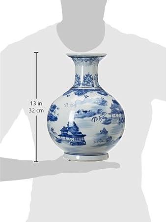 Oriental Furniture 12 Floral Blue /& White Porcelain Vase
