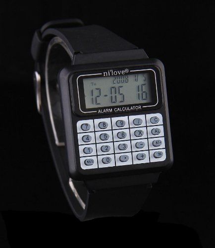 Fashion Colorful Unisex 8 Digit Alarm Calculator Watch Black, Watch Central