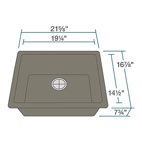 R3-1004-UMB-ST-CGF Umber Single Bowl Quartz Kitchen Sink with Grid and Matching Colored Flange by Elkay (Image #7)