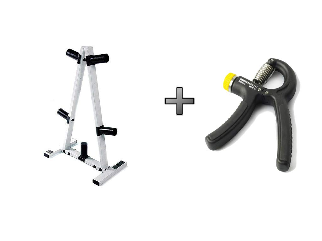 CAP Barbell* 2'' Plate Hole Tree Olympic Plate Rack in Black/White Plus Durable Adjustable Hand Grip - Bundle Set