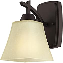Westinghouse 6307300 Midori One-Light Indoor Wall Fixture, Oil Rubbed Bronze Finish with Amber Linen Glass