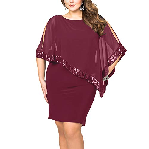 Sequined Overlay - Alaster Queen Sequined Overlay Party Dress Chiffon Poncho Slit Sleeve Pencil Cocktail Mini Dress ... ... ... (Burgundy-Plus, Plus-XLarge)