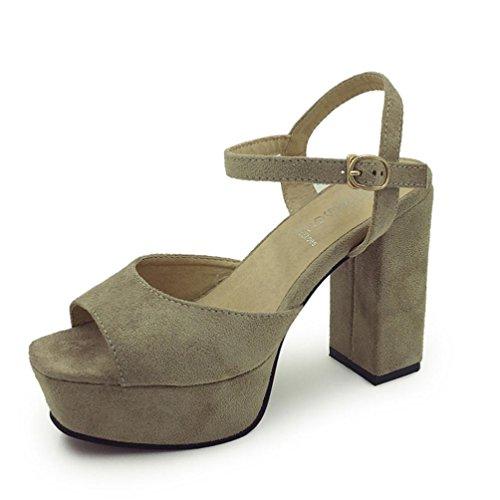 Damen Sandalen Sandalen Fisch Mund Sandalette High-Heel Denim Sandalen