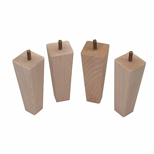 """WEICHUAN Tapered Solid Beech Wood Replacement Sofa Couch Chair Ottoman Loveseat Coffee Table Cabinet Wood Furniture Feet Furniture Wood Legs(4.5"""" Set of 4)"""