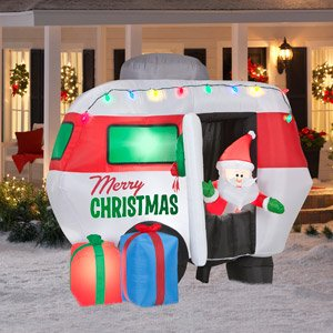 christmas decoration lawn yard inflatable santa clause with camper 55 tall
