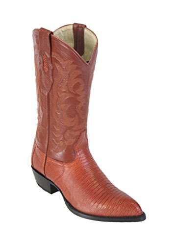 Los Altos Men's J-Toe Cognac Genuine Leather Teju Lizard Skin Western Boots