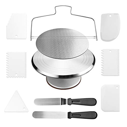 Cake Decorating Supplies Cake Stand Aluminium Revolving Cake Turntable - 12 Rotating Cake Decorating Stand with 2 Angled Icing Spatulas and 6 Comb Icing Smoother, Cake Leveler,Cake Board