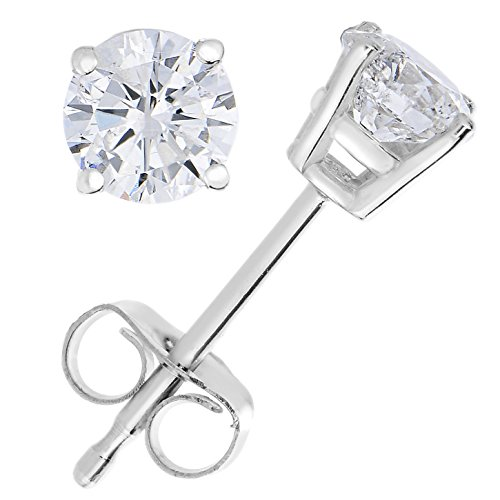 1/4 cttw Diamond Stud Earrings 14K White Gold with Push-Backs and Gift Box