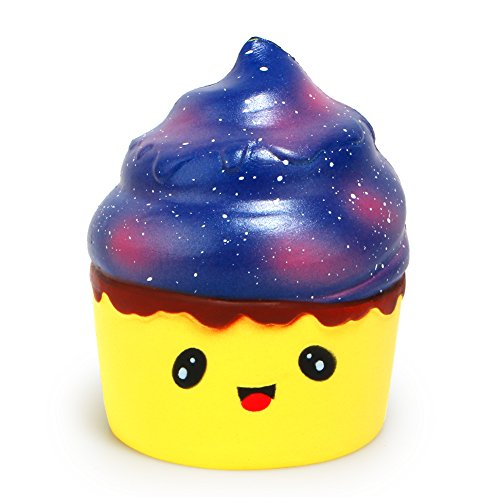 Xinzistar Kawaii Jumbo Slow Rising Squishies Cream Scented Squeeze Kid Toy Phone Charm Gift for Stress Relief (Starry Poop Cake)