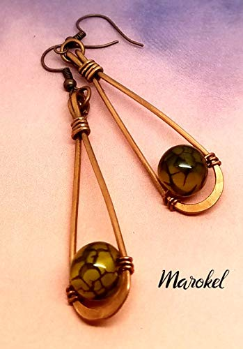Oxidized Dragon Ring - Dragon Agate Hammered Copper Wire Earrings