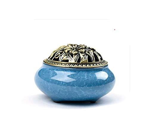 (dream-higher Ceramic Incense Burner Aromatherapy Furnace santalwood hob Incense Burner,Sky Blue)
