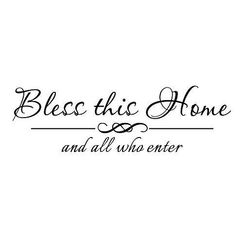 ZSSZ Bless This Home and All Who Enter - Vinyl Decal Wall Quote Home Entryway Lettering Decal Blessing Christian Room Decor Handwriting Art Letters (Stickers Decor Wall Home)
