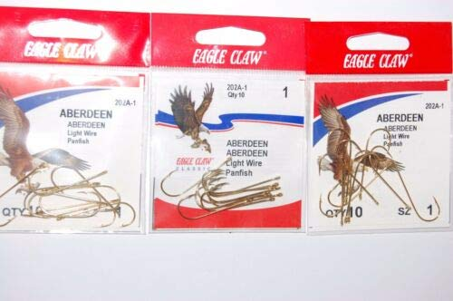 JumpingBolt 3 Packs Classic Size 1 Aberdeen Light Wire Gold panfish Hook for Saltwater Freshwater Bass Kayak Ice Fishing