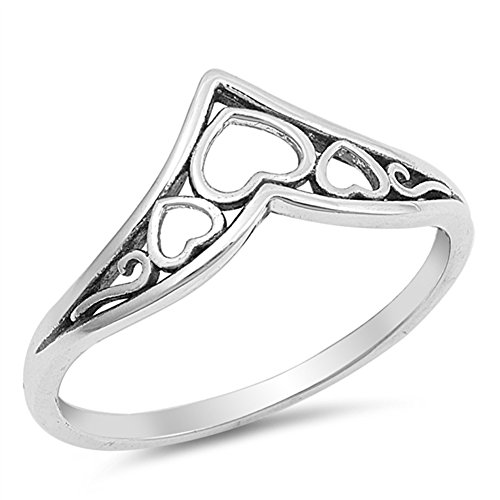 Filigree Chevron Heart Promise Ring Sterling Silver Celtic Thumb Band Size 9 ()