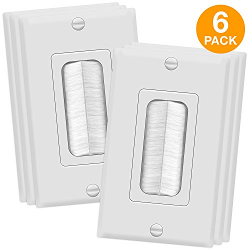 TOPGREENER Bristled Brush Wall Plate Multimedia Pass-Through Insert with Decorator Wall Plate for Low Voltage Cables, Standard Size 1-Gang, Polycarbonate Thermoplastic, White (6 Pack) TG8891-6PCS