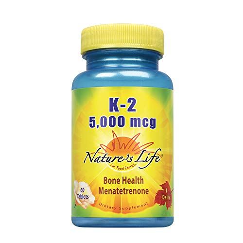 Nature's Life Vitamin K2 5000mcg | High Potency MK4 Formula Helps Support Bone & Cardiovascular Health | 60 Vegetarian Tablets | Non-GMO