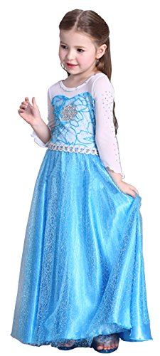 [Cohaco Girls Snow Queen Princess Party Dress Blue Color (US 4)] (Snow White The Queen Costume)