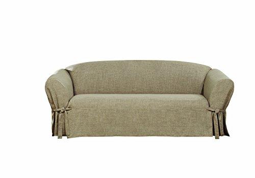 Sure Fit Textured Linen Slipcover (Sand, Box Cushion Sofa)