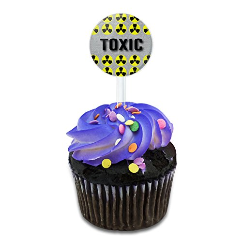 Toxic Warning Radiation Cake Cupcake Toppers Picks Set