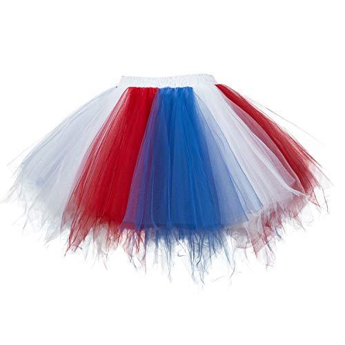 Topdress Women's 1950s Vintage Tutu Petticoat Ballet Bubble Skirt (26 Colors) Blue Red -
