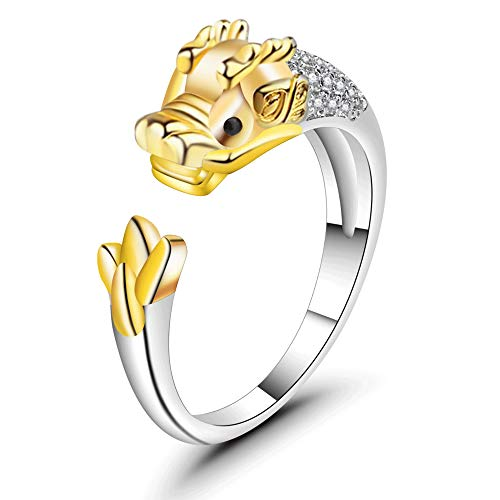 ATDMEI Dragon Rings Sterling Silver Gifts for Women Gold Zircon Cuff Adjustable Chinese Zodiac Jewelry Gifts -