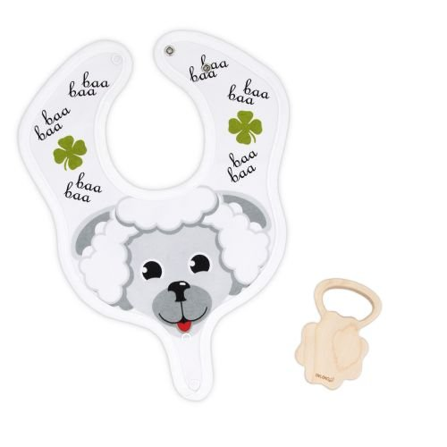 DELEKO Sheep & Clover cotton BIB with a TEETHER from maple tree handmade natural ecological Perfect for babies who teethe ! by DELEKO