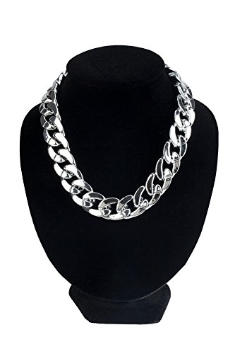 (Glamorous Chunky Silver Coloured Plastic Curb Chain Choker Necklace / Collier By VAGA®)