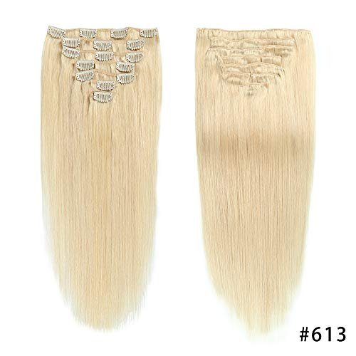 Bleach Blonde Double Weft Clip in Human Hair Extensions Full Head 14